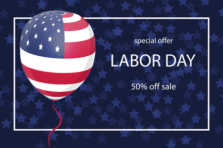 Happy Labor Day background with USA flag on baloon. Vector Illustration