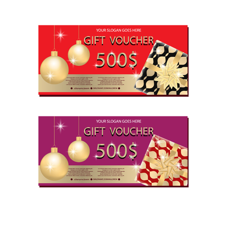 Set of luxury gift vouchers with golden ribbons, bows, gift box and Cristmas balls. Elegant template for holiday gift card, coupon and certificate. Vector illustration Archivio Fotografico - 104766817