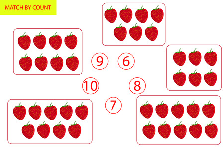 Counting Game for Preschool Children. Mathematics task. How many objects. Learning mathematics, numbers, logic. Vector Illustration