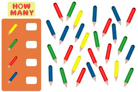 Juego de conteo para niños en edad preescolar. Tarea de matemáticas. Cuantos objetos. Aprendiendo matemáticas, números, lógica. Ilustración vectorial Ilustración de vector