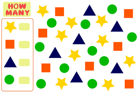 Counting Game for Preschool Children. Mathematics task. How many objects. Learning mathematics, numbers, logic. Vector Illustration Illustration