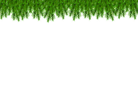Merry Christmas and Happy New Year background with fir branches isolated on white background. Modern design. Universal vector background for poster, banners, flyers, card. Ilustração