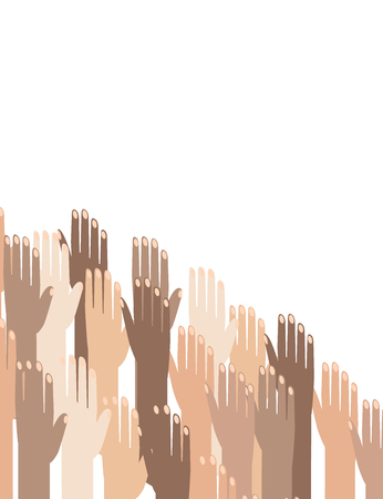 Multiracial Colorful Peoples' Hands Raised. Vector illustration of Human Rights Day background.