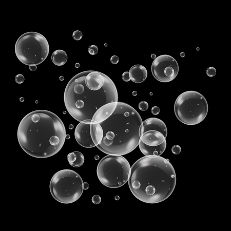 Realistic soap bubbles with rainbow reflection set isolated on the black background. vector Illustration Çizim