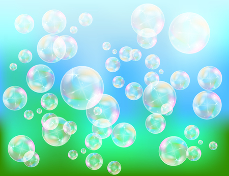 Realistic soap bubbles with rainbow reflection set isolated on the blue sparkling background. vector Illustration
