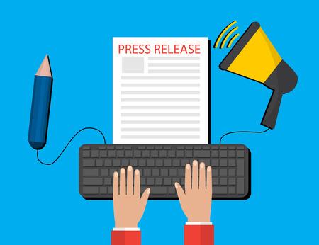 Modern Press Release Concept  For Web, On-Line News. Flat Design. Vector Banner.