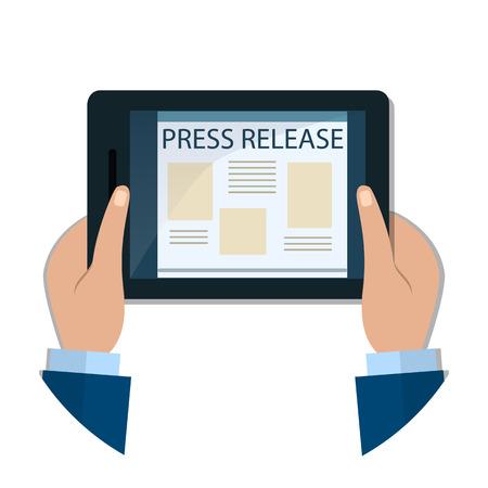 Hands holds a tablet. Modern Press Release Concept  For Web, On-Line News. Flat Design. Vector Banner.