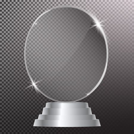 Glass shining trophy  Isolated on black transparent background. Glass Trophy Award Vector illustration,
