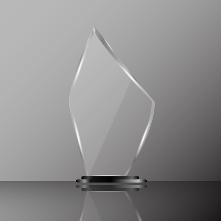 Glass shining trophy  Isolated on black background. Glass Trophy Award Vector illustration,