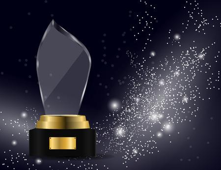Trofeo de cristal brillante aislado sobre fondo brillante. Ilustración de Vector de premio de trofeo de vidrio,