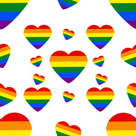 Seamless Pattern with LGBT rainbow heart. Celebrating people rights. Same-sex love. Pride. Vector Illustration Vektoros illusztráció