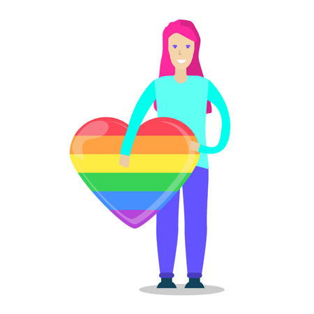 Young female smiling character holding a rainbow heart. LGBT community. Same-sex love Vectores