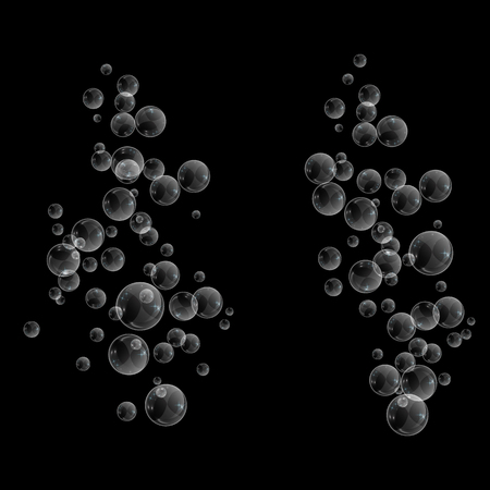 Bubbles underwater texture isolated on black background. Fizzy sparkles in water, sea, ocean. Undersea vector illustration.