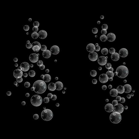 Bubbles underwater texture isolated on black background. Fizzy sparkles in water, sea, ocean. Undersea vector illustration. Banco de Imagens - 127309142