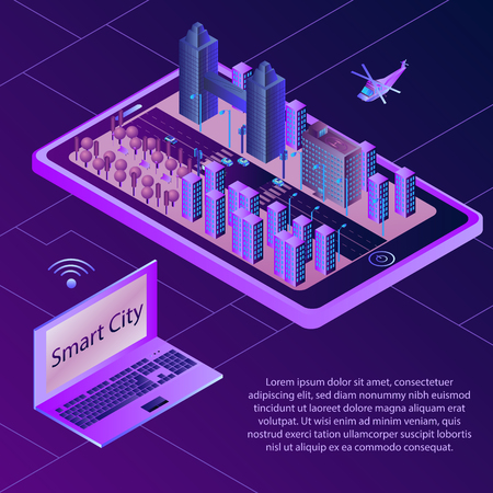 Isometric Concept of Smart City. Wireless Connected Devices. Isometric vector Illustration