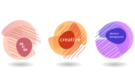 Set of Minimalist geometric backgrounds. Trendy gradient, liquid shapes composition. Vector Illustration Ilustração