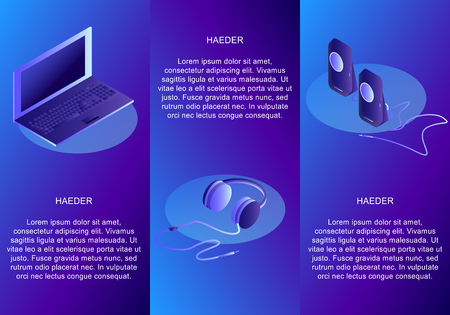 Isometric set of conceptual headings for devices. Laptop. Earphone. Speakers. Isometric vector illustration