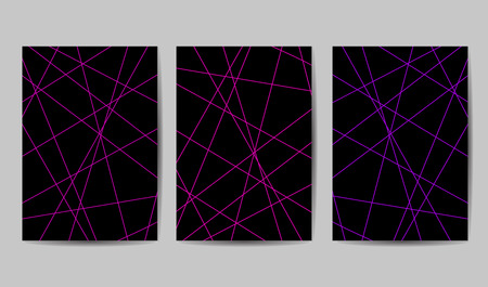 Set of Minimalist geometric background. Trendy thin line abstract shapes composition. Vector Illustration