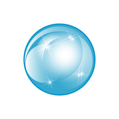 Water soap bubble with soft shadow.. Transparent Isolated Realistic Design Elements. Vector illustration Ilustração