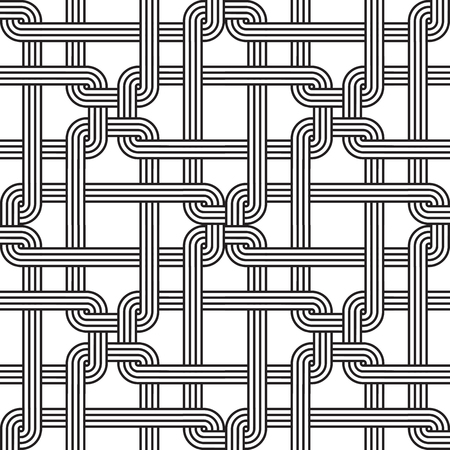 The seamless pattern of ornament. Black and white repeated background. Vector design
