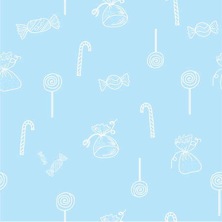 sweettooth: Seamless light blue pattern with candies
