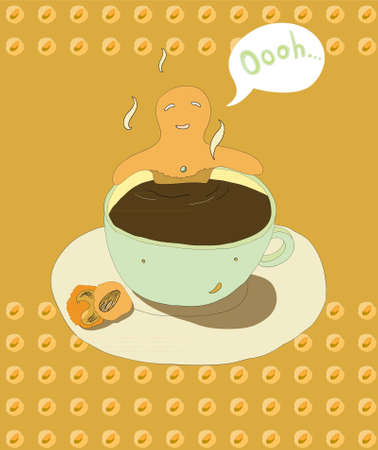 Gingerbread man soaks in coffee cup Illustration