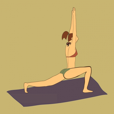 Woman in bikini doing yoga on a violet yoga mat Vector