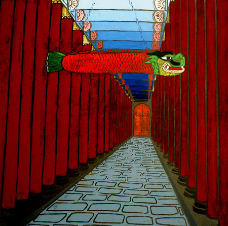 stereoscopic: Illustration of a chinese style corridor