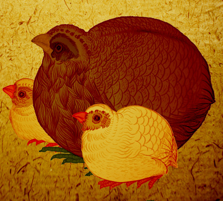 motherly: Illustration of a chicken and a chick