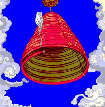and auspicious: Illustration of a praying incense Illustration