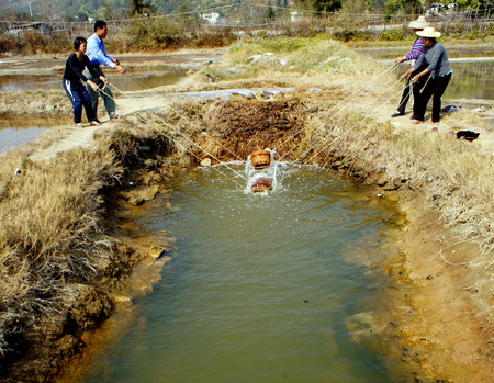 villagers: Villagers getting water from a pond using traditional way