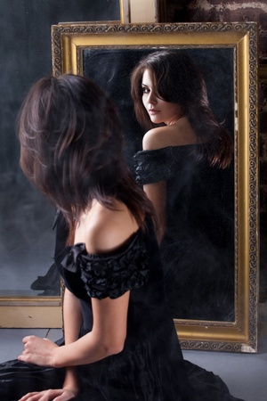 mirror frame: young beautiful girl Stock Photo