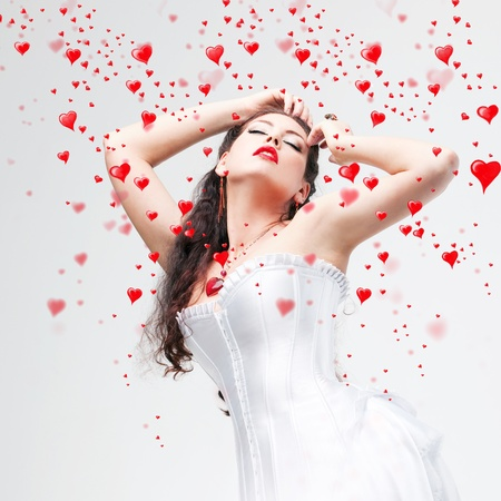 beautiful brunette and hearts photo
