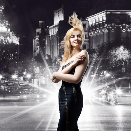 girl  over night city background photo