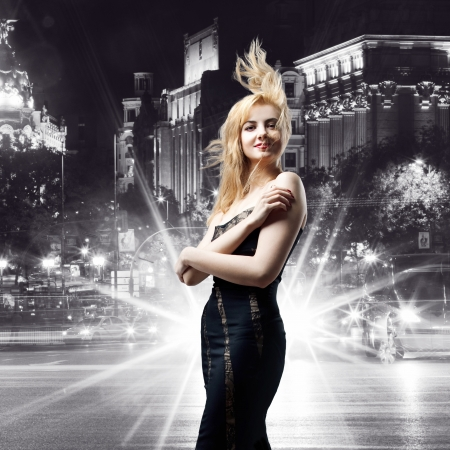 sexy woman car: girl  over night city background