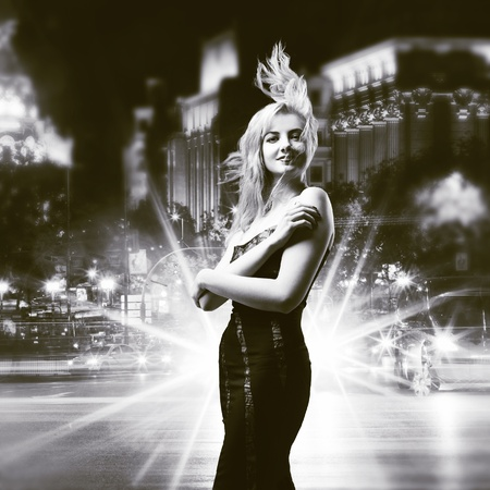 girl  over night city background photo