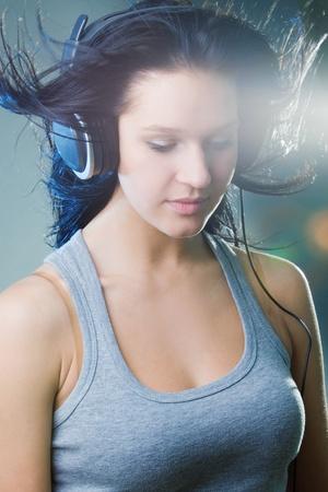 girl enjoys music photo