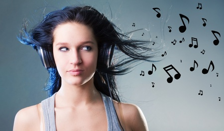 listen to music: girl enjoys music