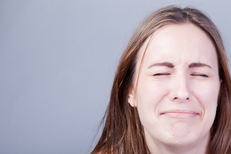whining: Closeup of young crying girl
