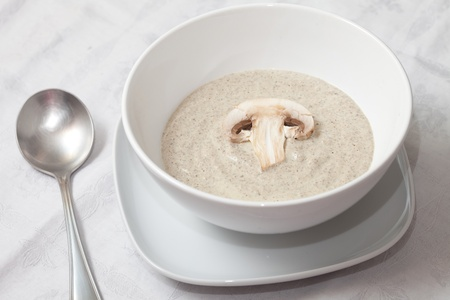 Bowl of mushroom soup photo