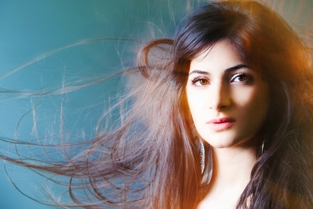 Beautiful lady with long brown hair Stock Photo - 9343420