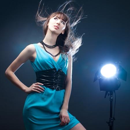 beautiful girl in a blue dress Stockfoto