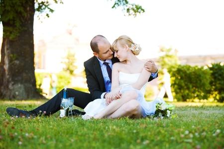 Newly-married couple photo