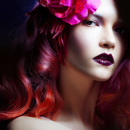 coloring lips: beautiful girl with pink hair
