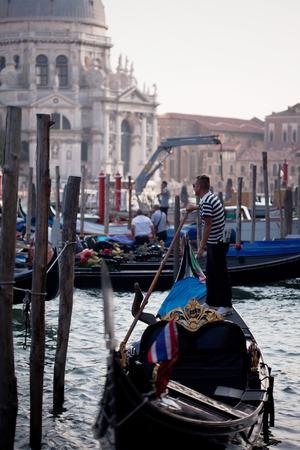 Gondolas on Canal Grande with Basilica di Santa Maria della Salute