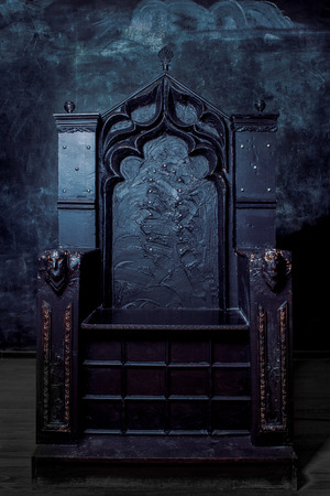 Royal throne. dark Gothic throne, front view 免版税图像 - 37884477
