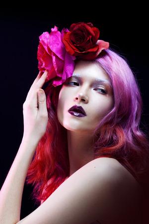 daring: Fatal girl, daring look. Beautiful girl with pink hair