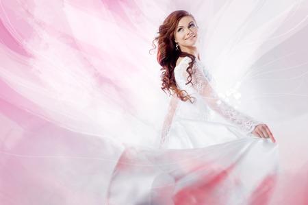 beautiful nude women: Beautiful bride in wedding dress, artistic effects