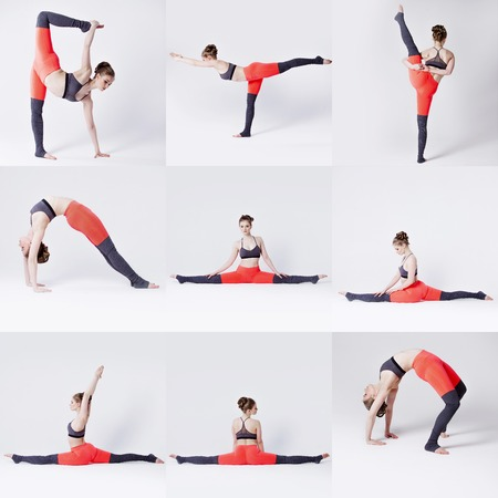 sexual position: yoga poses, the girl in the Studio, collage in white background