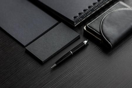 Set of black mockups on dark background